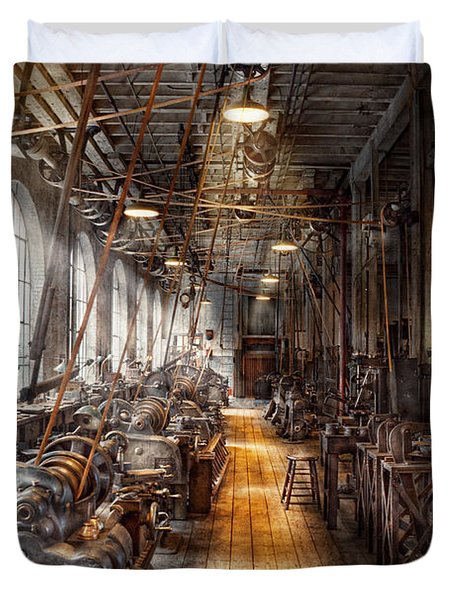 Machinist - Welcome To The Workshop Duvet Cover by Mike Savad