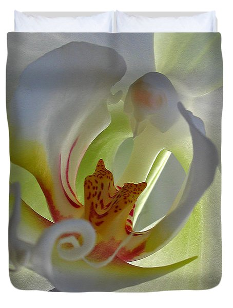 Macro Photograph Of An Orchid Duvet Cover by Juergen Roth