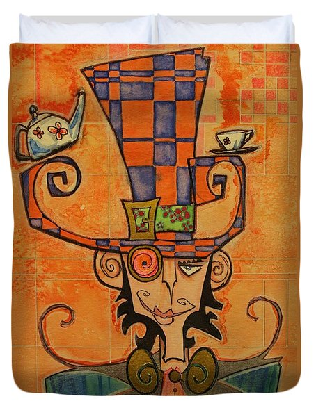 Mad Hatter Duvet Cover by Ellen Henneke