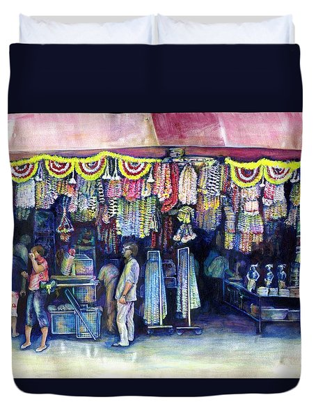 Mad Man Of Market And Main Singapore Duvet Cover by Gaye Elise Beda