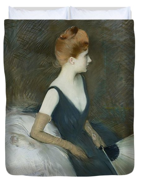 Madame Marthe Letellier Sitting On A Sofa Duvet Cover by Paul Cesar Helleu