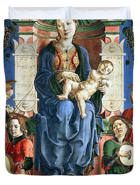 Madonna With The Child Enthroned  Duvet Cover by Cosme Tura
