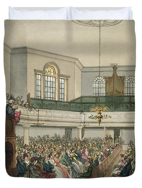 Magdalen Chapel Duvet Cover by Pugin And Rowlandson