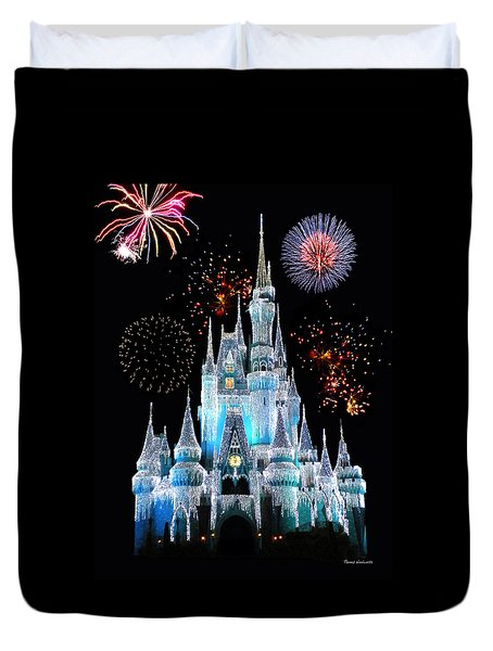 Magic Kingdom Castle In Frosty Light Blue With Fireworks 06 Duvet Cover by Thomas Woolworth