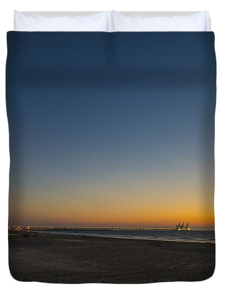 magical sunset moments at Caesarea  Duvet Cover by Ron Shoshani