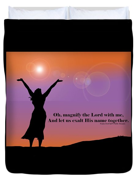 Magnify The Lord Duvet Cover by Kate Farrant