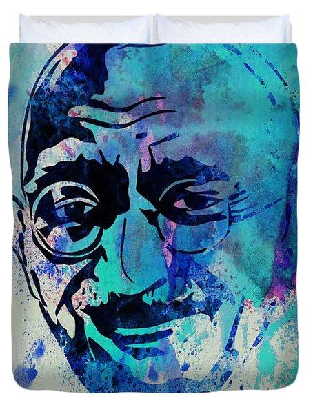 Mahatma Gandhi Watercolor Duvet Cover by Naxart Studio