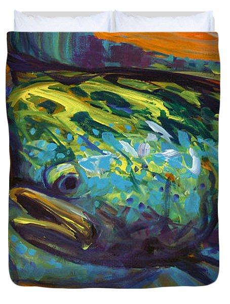 Mahi At Sunset Duvet Cover by Savlen Art