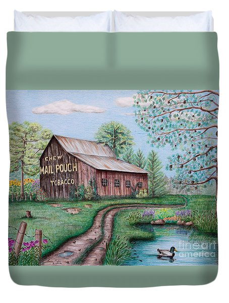 Mail Pouch Tobacco Barn Duvet Cover by Lena Auxier