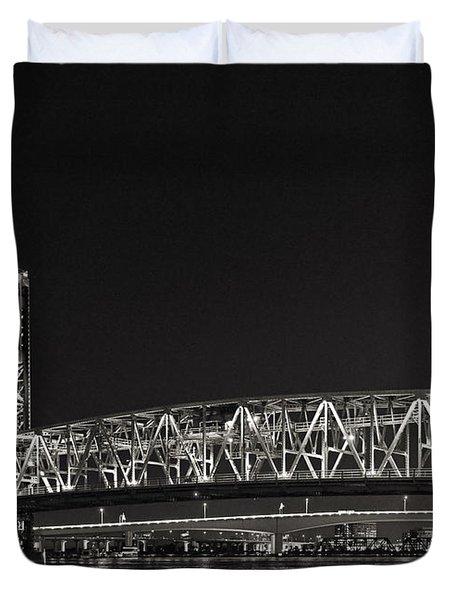 Main Street Bridge Jacksonville Florida Duvet Cover by Christine Till