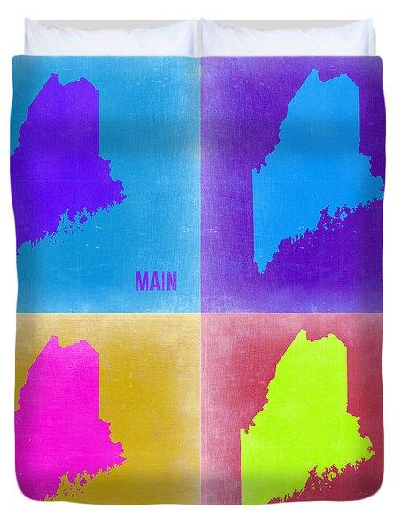 Maine Pop Art Map 2 Duvet Cover by Naxart Studio