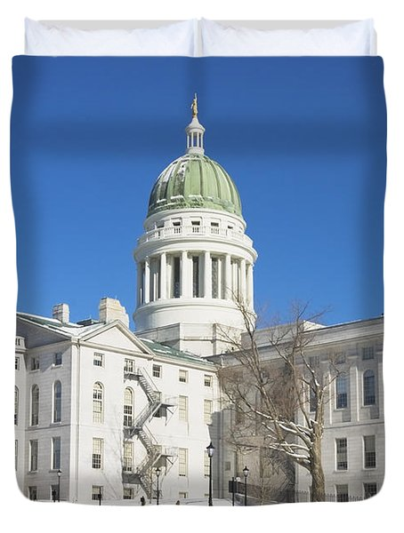 Maine State Capitol Building In Winter Augusta Duvet Cover by Keith Webber Jr