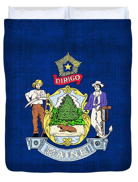 Maine State Flag Duvet Cover by Pixel Chimp