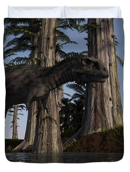 Majungasaurus Hunting For Food Duvet Cover by Kostyantyn Ivanyshen
