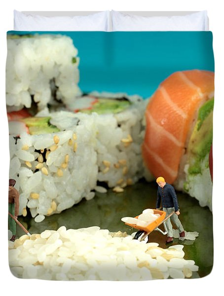 Making Sushi Little People On Food Duvet Cover by Paul Ge