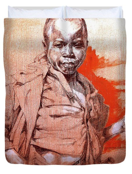 Malawi Child Sketch Duvet Cover by Derrick Higgins