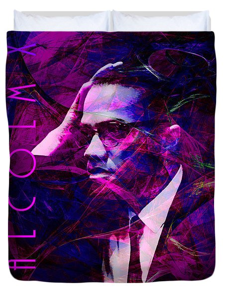 Malcolm X 20140105m88 with text Duvet Cover by Wingsdomain Art and Photography