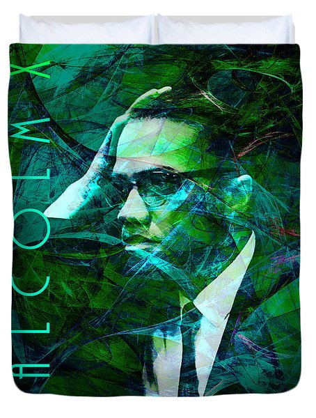 Malcolm X 20140105p138 with text Duvet Cover by Wingsdomain Art and Photography