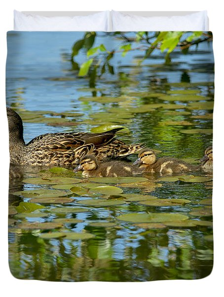 Mallard Mom and the Kids Duvet Cover by Sharon  Talson