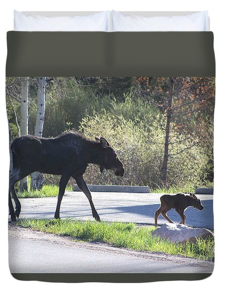 Mama And Baby Moose Duvet Cover by Fiona Kennard