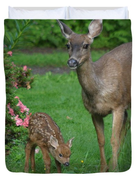 Mama Deer And Baby Bambi Duvet Cover by Kym Backland