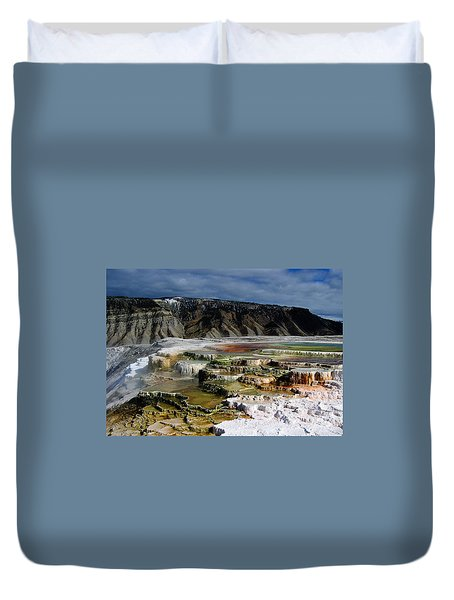 Mammoth Hot Springs Duvet Cover by Robert Woodward
