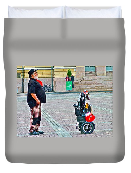 Man Singing In Senate Square In Helsinki-finland Duvet Cover by Ruth Hager