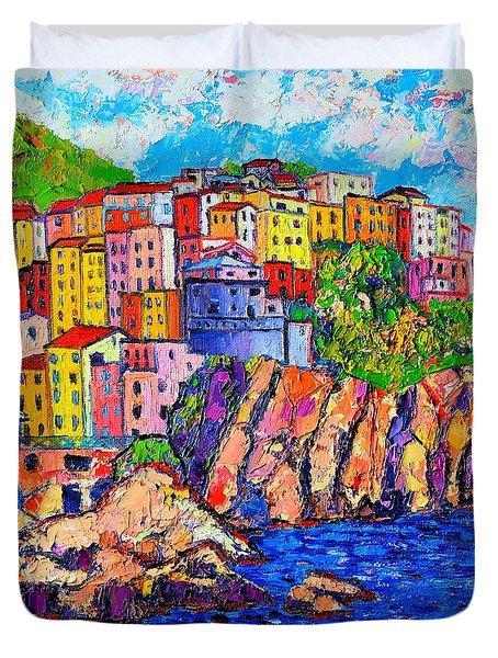 Manarola Cinque Terre Italy Detail Duvet Cover by Ana Maria Edulescu