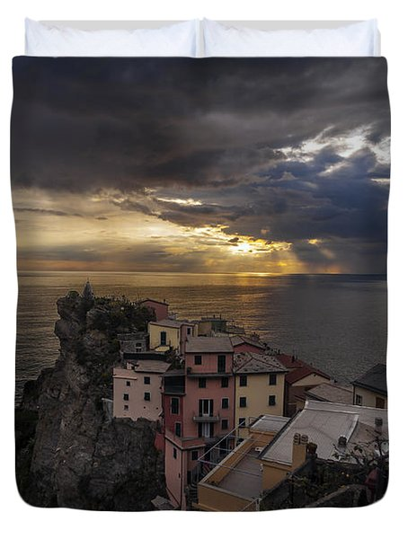 Manarola Sunset Storm Duvet Cover by Mike Reid