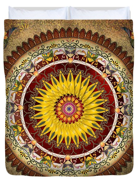 Mandala Sunflower Duvet Cover by Bedros Awak