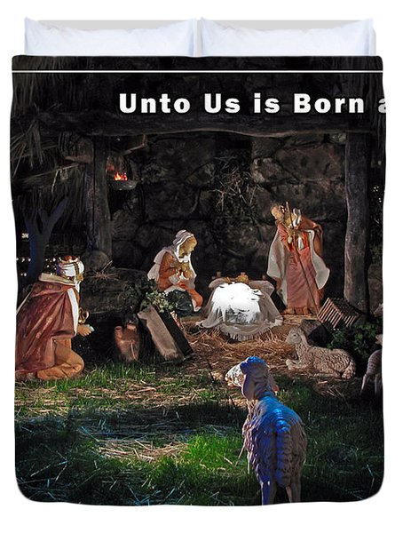 Manger Christmas Card Duvet Cover by John Haldane