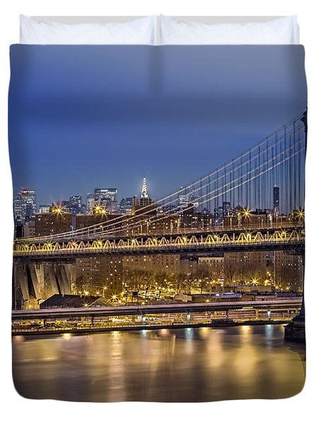 Manhattan Bridge Duvet Cover by Eduard Moldoveanu