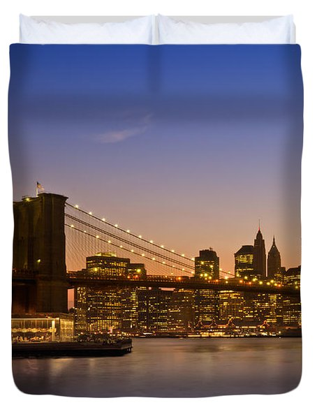 Manhattan Brooklyn Bridge Duvet Cover by Melanie Viola