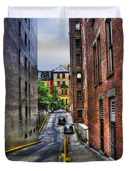 Manhattan Theater District Alley Duvet Cover by Randy Aveille