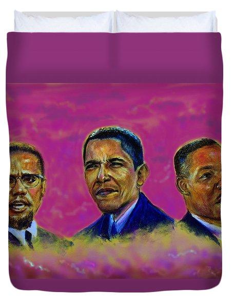 M.a.n...malcolm- Obama- Martin Duvet Cover by Tommy  Winn