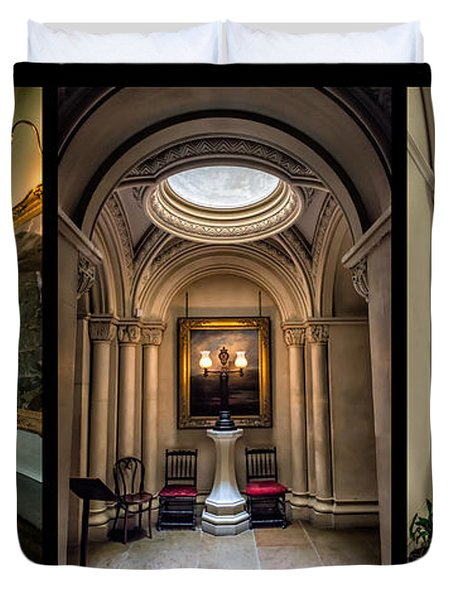 Mansion Hallway Triptych Duvet Cover by Adrian Evans