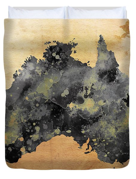 Map Of Australia Grunge Duvet Cover by Daniel Hagerman