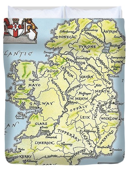 Map Of Ireland Duvet Cover by English School