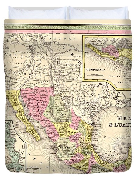 Map of Mexico Duvet Cover by Gary Grayson