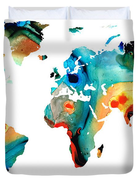 Map Of The World 11 -colorful Abstract Art Duvet Cover by Sharon Cummings