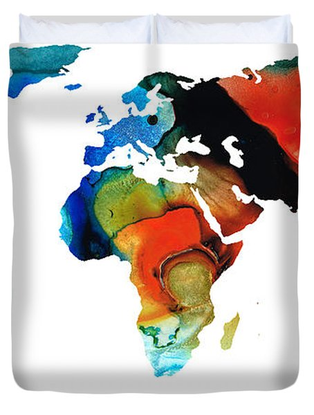 Map of The World 3 -Colorful Abstract Art Duvet Cover by Sharon Cummings