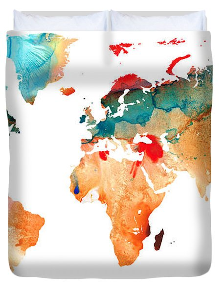 Map Of The World 7 -colorful Abstract Art Duvet Cover by Sharon Cummings
