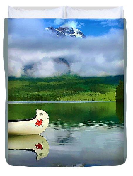 Maple Leaf Canoe On Pyramid Lake Duvet Cover by Teresa Zieba