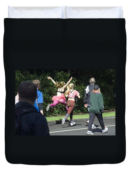 Marathon Grand Jete  Duvet Cover by Daniel Furon