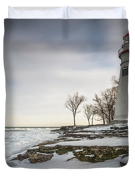 Marblehead Lighthouse Winter Duvet Cover by James Dean