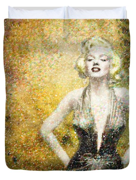 Marilyn Monroe In Points Duvet Cover by Angela A Stanton