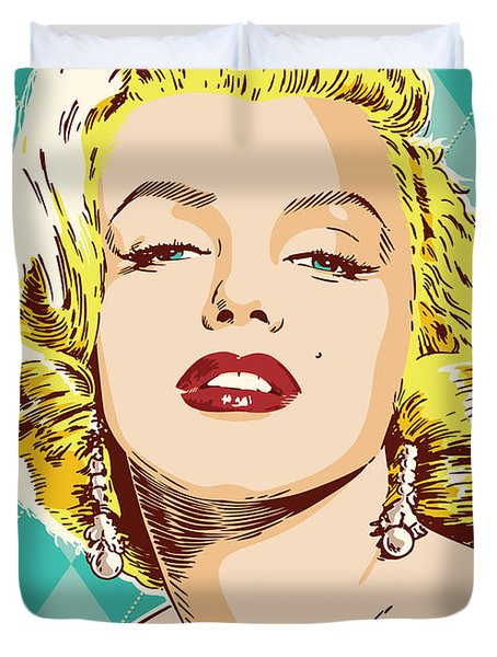 Marilyn Monroe Pop Art Duvet Cover by Jim Zahniser