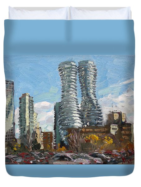 Marilyn Monroe Towers In Mississauga Duvet Cover by Ylli Haruni