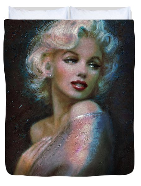 Marilyn romantic WW dark blue Duvet Cover by Theo Danella