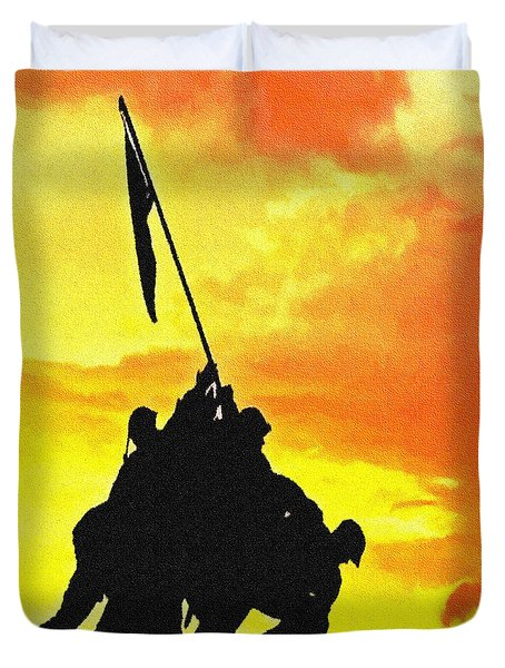 Marine Iwo Jima Memorial Dc Duvet Cover by Bob and Nadine Johnston